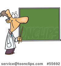 Cartoon Happy Science Teacher Pointing to a Chalk Board by Ron Leishman