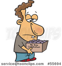 Cartoon White Guy Carrying a Collection of Rocks in a Box by Ron Leishman