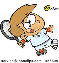 Cartoon White Boy Swinging a Tennis Racket by Toonaday