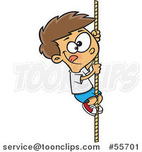 Cartoon White Athletic Boy Climbing a Rope by Ron Leishman