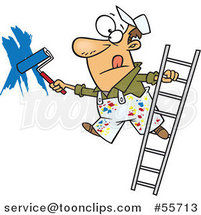 Cartoon White Guy Painting a Wall and Leaning off of a Ladder by Toonaday