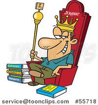 Cartoon White Scrabble King Sitting on His Throne by Ron Leishman