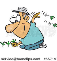 Cartoon Happy White Guy Pulling Weeds by Ron Leishman