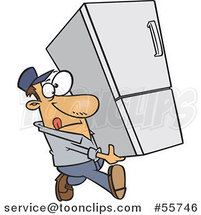 Cartoon White Delivery Guy Carrying a Fridge by Ron Leishman
