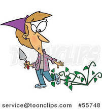 Cartoon White Lady Being Attacked by Bad Weeds by Toonaday