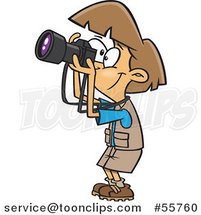 Cartoon Happy Brunette Lady Taking Pictures by Ron Leishman