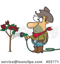 Cartoon White Cowboy Guy Watering a Rose Bush by Toonaday