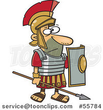 Cartoon Roman Soldier Standing with a Spear and Shield by Ron Leishman