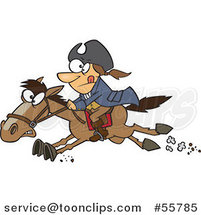 Cartoon Paul Revere Riding a Horse by Ron Leishman