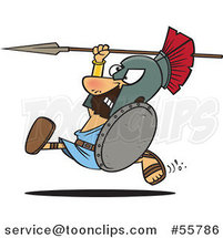 Cartoon Spartan Warrior Running with a Spear and Shield by Ron Leishman