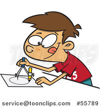 Cartoon Brunette White Boy Using a Drafting Compass by Ron Leishman