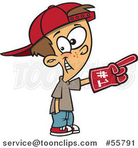 Cartoon White Sports Fan Boy Wearing a Foam Finger by Ron Leishman