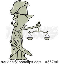 Cartoon Lady Justice Blindfolded with a Sword and Scales by Ron Leishman