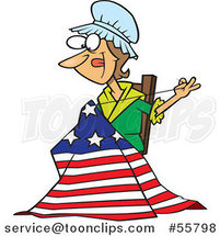 Cartoon Betsy Ross Sewing the First American Flag by Ron Leishman
