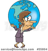 Cartoon White Business Woman Carrying Earth As a Burden by Ron Leishman