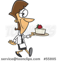 Cartoon White Chef Lady Serving a Slice of Cheesecake by Ron Leishman