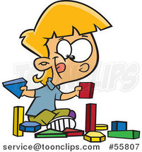Cartoon White School Girl Playing with Manipulatives Blocks by Ron Leishman