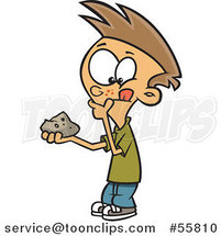 Cartoon White Pondering Boy Holding a Rock by Ron Leishman