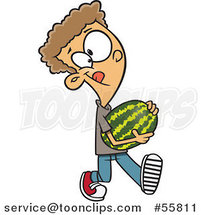 Cartoon White Boy Carrying a Watermelon by Ron Leishman