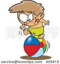 Cartoon White Boy Rolling on a Beach Ball by Ron Leishman