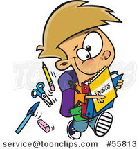 Cartoon White School Boy Running with His Accessories by Ron Leishman