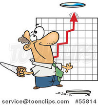 Cartoon White Business Man Cutting a Hole in the Ceiling for a Growth Chart by Ron Leishman