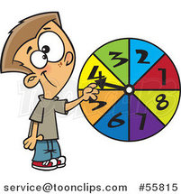 Cartoon White School Boy Spinning a Probability Wheel by Ron Leishman