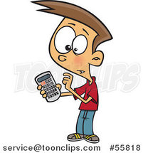 Cartoon White Boy Using a Calculator by Ron Leishman