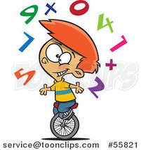 Cartoon White School Boy Juggling Numbers on a Unicycle by Ron Leishman