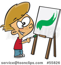 Cartoon White Boy Painting a Stroke on a Canvas by Ron Leishman