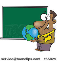 Cartoon Black Teacher Holding a Globe by a Chalkboard by Toonaday