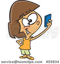 Cartoon White Girl Taking a Selfie with Her Cell Phone by Ron Leishman