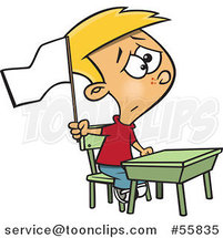 Cartoon Cauacsian School Boy Waving a White Flag at His Desk by Ron Leishman