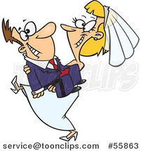 Cartoon Happy Bride Carrying Her Groom by Toonaday