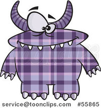 Cartoon Spotted and Horned Purple Plaid Monster by Ron Leishman