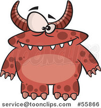 Cartoon Spotted and Horned Red Monster by Ron Leishman