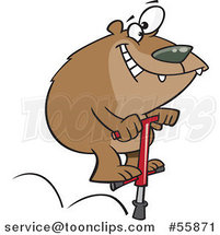Cartoon Bear Jumping on a Pogo Stick by Toonaday