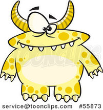 Cartoon Spotted and Horned Yellow Monster by Ron Leishman