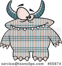 Cartoon Spotted and Horned Plaid Monster by Ron Leishman