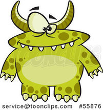 Cartoon Spotted and Horned Green Monster by Ron Leishman
