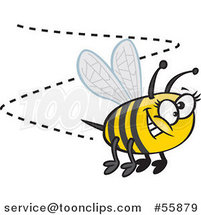 Cartoon Happy Bumblebee Buzzing Around by Ron Leishman