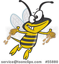 Cartoon Happy Bee with Honey on His Hands by Ron Leishman