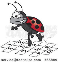 Cartoon Ladybug Jumping over Numbers by Ron Leishman