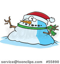 Cartoon Chubby Christmas Snowman Wearing a Santa Hat by Toonaday