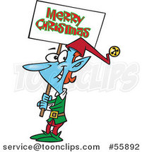 Cartoon Blue Elf Carrying a Merry Christmas Sign by Toonaday