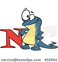Cartoon Happy Newt Leaning on the Letter N by Ron Leishman