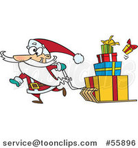 Cartoon Santa Pulling Christmas Gifts on a Sled by Ron Leishman
