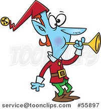 Cartoon Blue Christmas Elf Blowing a Horn by Toonaday