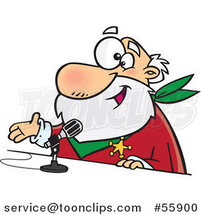 Cartoon CRS Santa Speaking into a Microphone by Toonaday
