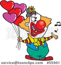 Cartoon Clown Singing and Holding Valentines Day Balloons by Ron Leishman